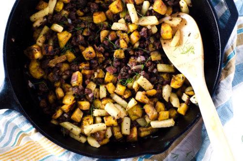 Plantain, Apple, & Sausage Breakfast Hash   Crohn's disease